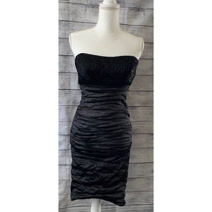 Nicole Miller ruched strapless black dress